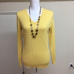 Yellow vneck sweater. Kim Rogers size S